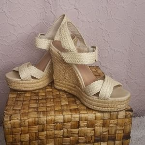 Aldo Cream Tall Wedges Ankle Buckle Size 8M